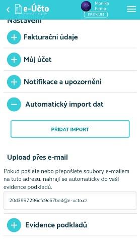 Nahrávání souborů prostřednictvím e-mailu